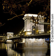 Szechenyi Bridge in Budapest at night