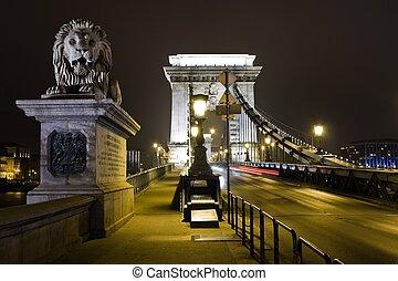 Szechenyi bridge in Budapest details - stone lion without tongue