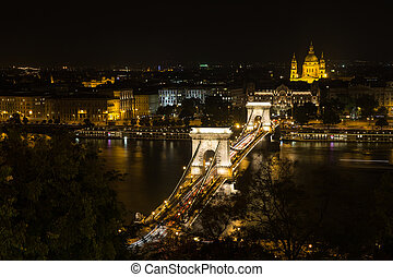 Szechenyi Bridge in Budapest Hungary. Beautiful over the Danube. Best in . Night view of