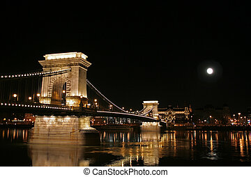 Szechenyi Chain Bridge connecting Buda and Pest sides of the Hungarian capital Budapest at full moon