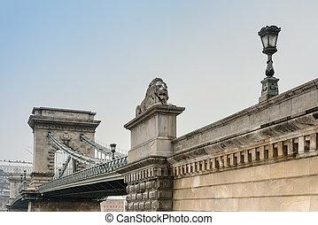 Szechenyi Chain Bridge in Budapest, Hungary, Europe