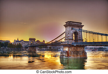 Szechenyi chain bridge in Budapest, Hungary