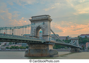 Szechenyi Chain Bridge in Budapest Hungary