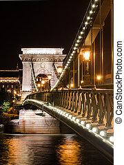 Szechenyi Chain Bridge night detail, Budapest