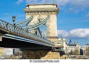 Szechenyi Chain Bridge-one of the most beautiful bridges of Budapest, Hungary