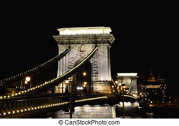 Szechenyi Chain bridge over Danube river, Budapest, Hungary.