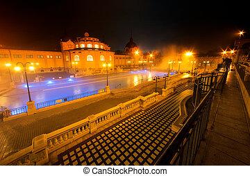 Szechenyi spa bath, Budapest, Hungary. Szechenyi Medicinal Bath is the largest medicinal bath in Europe.