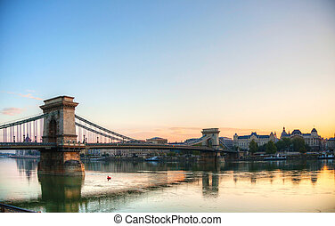 Szechenyi suspension bridge in Budapest, Hungary