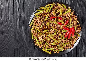 Pork Stir Fry with charred Green Beans - Szechuan Pork Stir...