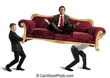 szef, czyn, yoga, na, sofa