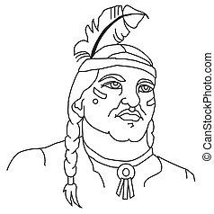 szef, indianin, głowa, maskotka