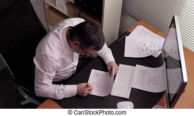 szef, podpisany, pracujący, papiery