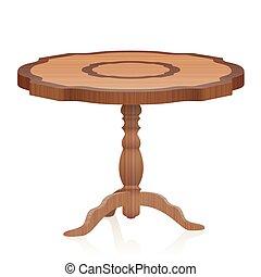 szegély asztal, antik, fából való, berendezés