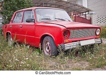 szegély kilátás, közül, piros, öreg, berozsdásodott, autó