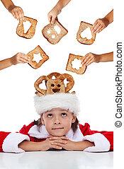 szegény, -, odaad, élelmiszer, karácsony, jótékonyság