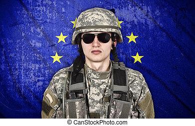 szegényház katona, lobogó, európai