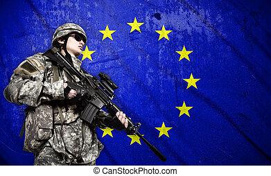 szegényház katona, lobogó, háttér, európai