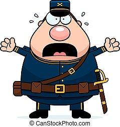 szegényház katona, megrémült, karikatúra
