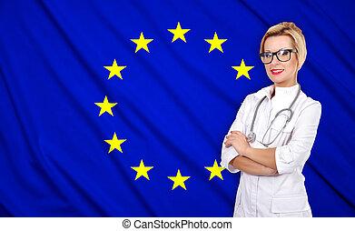 szegényház lobogó, orvos, európai