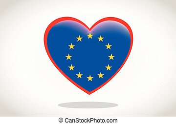 szegényház lobogó, szív, európai, alakzat.