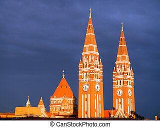 Szeged Dom at night - Towers of Cathedral of Szeged (Szegedi...