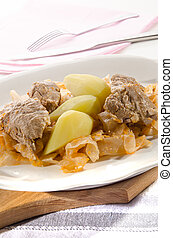 Szeged goulash with boiled potatoes