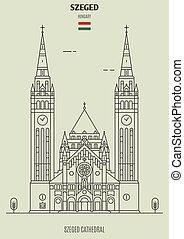 szeged, votive, iglesia, señal, hungary., icono
