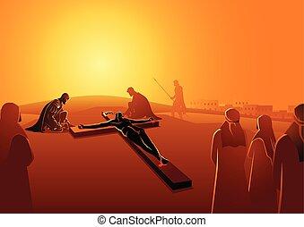 szegezett, jézus, kereszt