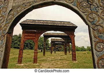 Szekler gates in Szejkefurdo. Transylvania, Romania