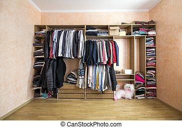 szekrény, tele, közül, különböző, férfiak, és, nő, öltözék