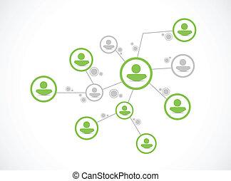 szelektív, tervezés, hálózat, ábra, emberek