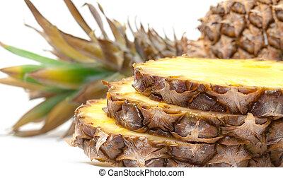 szelet, érett, ananász, gyümölcs