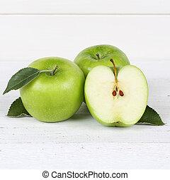 szelet, alma, fából való, gyümölcs, derékszögben, zöld alma, gyümölcs, bizottság