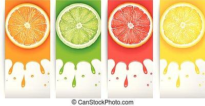 szelet, citrom, lé, grapefruit, narancs, lime, friss
