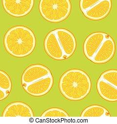 szelet, motívum, lédús, seamless, zöld, narancs