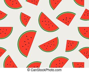 szelet, motívum, seamless, ábra, vektor, görögdinnye