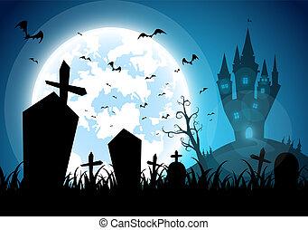 szellem, gyalogló, ördög, sok, háttér, mindenszentek napjának előestéje, mindenszentek napjának előestéje, hold, sötét, ábra, éjszaka, bástya, nap, ünneplés