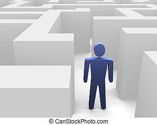 személy, alatt, labirintus