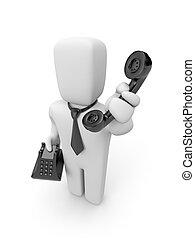 személy, beszél, által, telefon