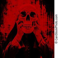 személy, emberi koponya, hatalom kezezés