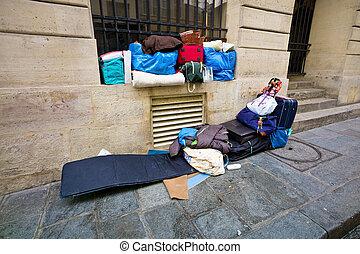 személy, france., párizs, otthontalan, alvás