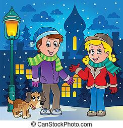 személy, kép, 3, karikatúra, tél