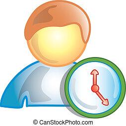 személy, képben látható, a, óra, ikon