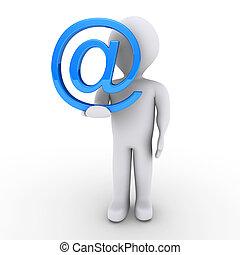 személy, noha, elektronikus posta, jelkép, alatt, övé, kéz