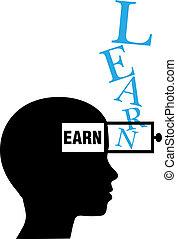 személy, pénzt keres, oktatás, árnykép, tanul