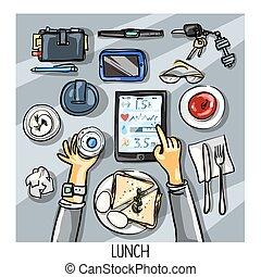 személy, tető, -, ebédel, háttér, birtoklás, kilátás