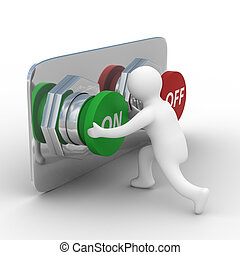 személy, tol, a, button., elszigetelt, 3, kép