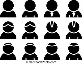 személy, vektor, fekete, ikonok