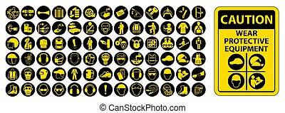 személyes, felszerelés, izolál, vektor, oltalmazó, háttér, (ppe), fehér, ábra, eps.10