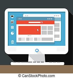 személyes, modern, desktop computer, nyílik, browser
